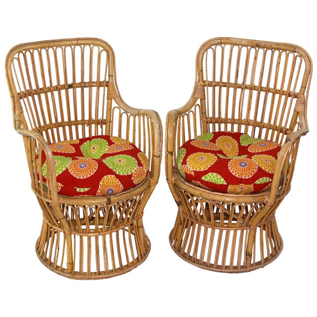 Franco Albini Style Rattan Chairs - A Pair - Image 1 of 11
