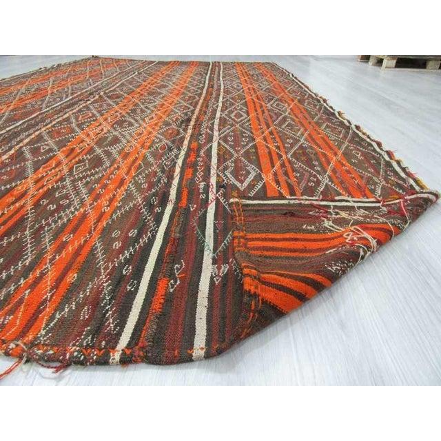 Vintage Orange Striped Turkish Kilim Rug - 6′7″ × 11′6″ For Sale In Los Angeles - Image 6 of 6