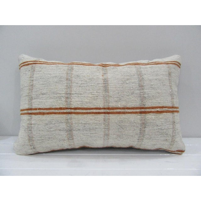 Vintage Handmade Striped Turkish Kilim Pillow Cover For Sale - Image 4 of 4
