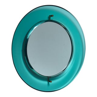 Early Luigi Fontana for Fontanit Glass Mirror in Green or Blue, Italy, 1950s For Sale