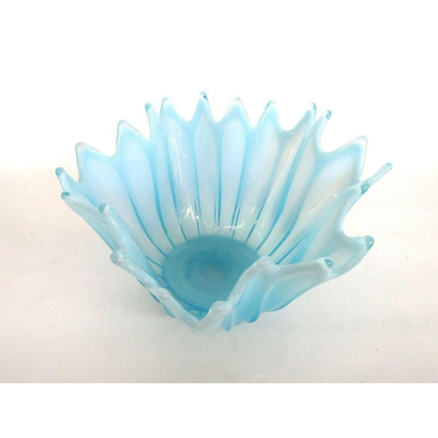 Fostoria Heirloom Style Blue Opalescent Glass Crimped Handkerchief Bowl For Sale - Image 4 of 11