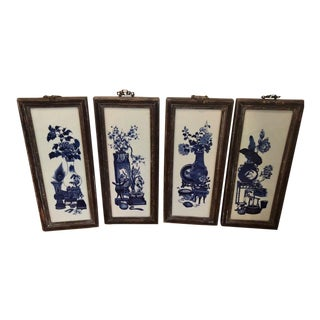 Set of 4 Antique Chinese Blue & White Pottery Panels - Four Seasons For Sale