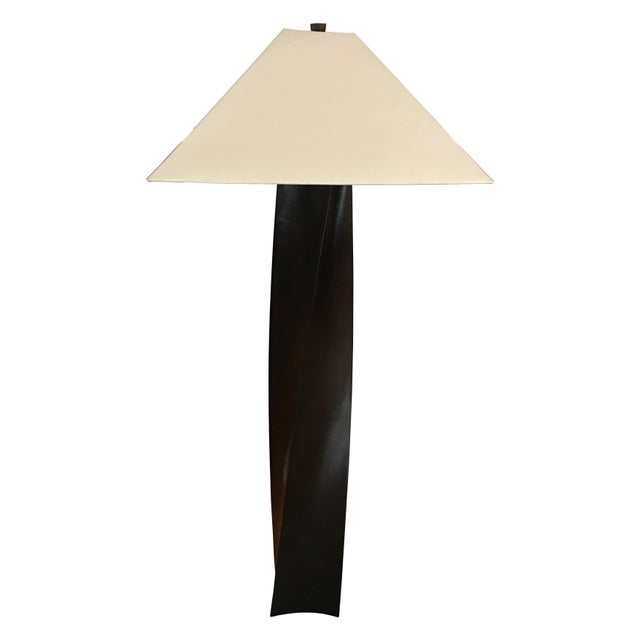 Contemporary Helix Black Copper Floor Lamp by Robert Kuo For Sale - Image 3 of 6