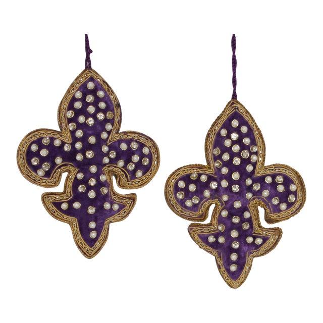 Sudha Pennathur Fleur De Lis Purple Velvet Beaded Ornaments - Set of 2 For Sale