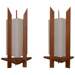 Triangular Fiberglass and Wood Lamps, 1960s For Sale