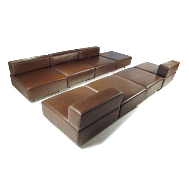 Harvey Probber Chocolate Brown Leather 'Cubo' Sectional Sofa - Image 8 of 9