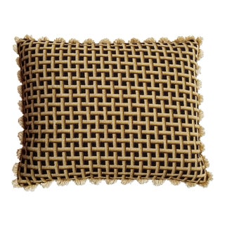 1970s Vintage Handmade Brown and Beige Basketweave Needlepoint Pillow For Sale
