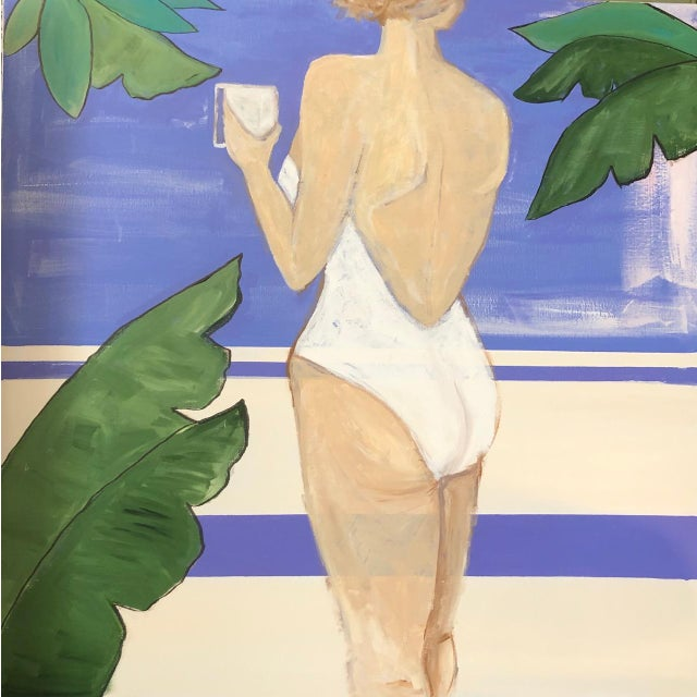 Contemporary Lauren Jane Lounging Lady Contemporary Painting For Sale - Image 3 of 3