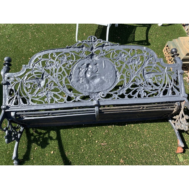 Antique French Black Iron Bench With Birds and Nymph For Sale - Image 12 of 13