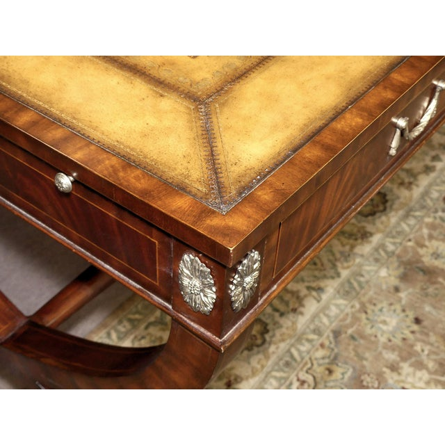 Gold Maitland Smith Regency Style Leather Top Mahogany Writing Desk For Sale - Image 8 of 11