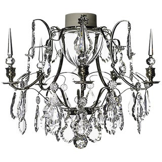 Bathroom Chandelier in Chrome With Leaf Crystals