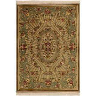 Gulberg Pak-Persian Gayla Lt. Tan/Lt. Green Wool Rug - 4'1 X 6'3 For Sale