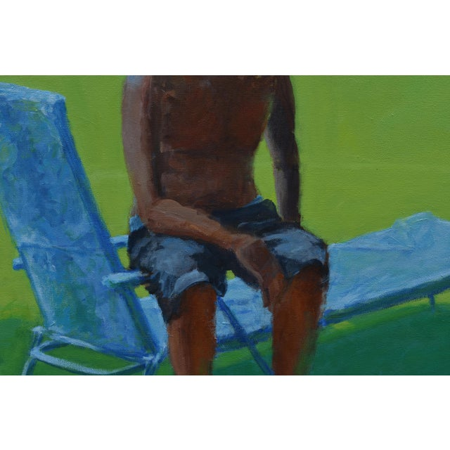"""Blue """"Resting in the Shade"""", Stephen Remick Contemporary Painting For Sale - Image 8 of 13"""