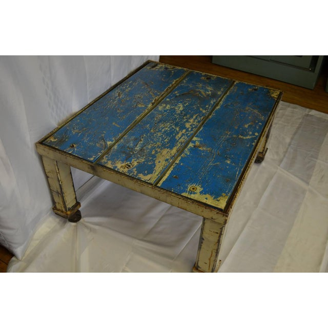 Worn Blue-Painted Coffee Table - Image 4 of 7