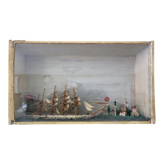 Ship Diorama Shadow Box Folk Art