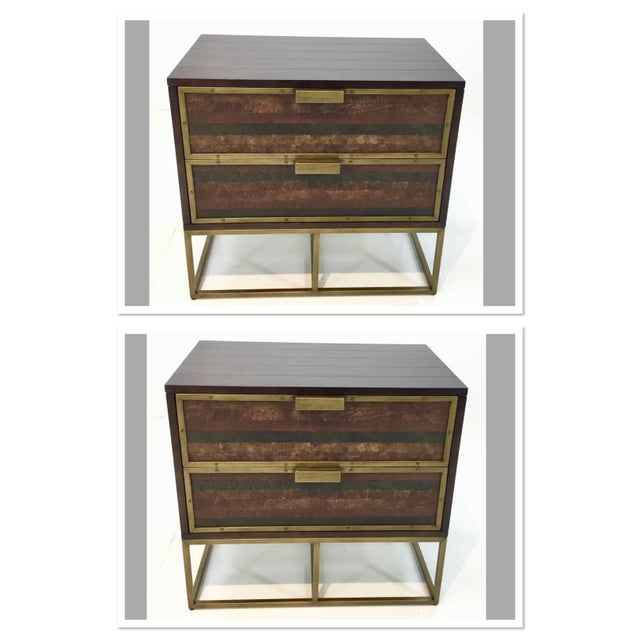 Currey & Co. Wood, Leather, and Brass Holden Nightstands Pair For Sale In Atlanta - Image 6 of 6