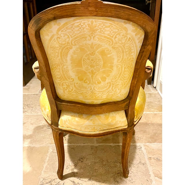 1910s French Fauteuil in Fortuny Fabric For Sale - Image 5 of 10