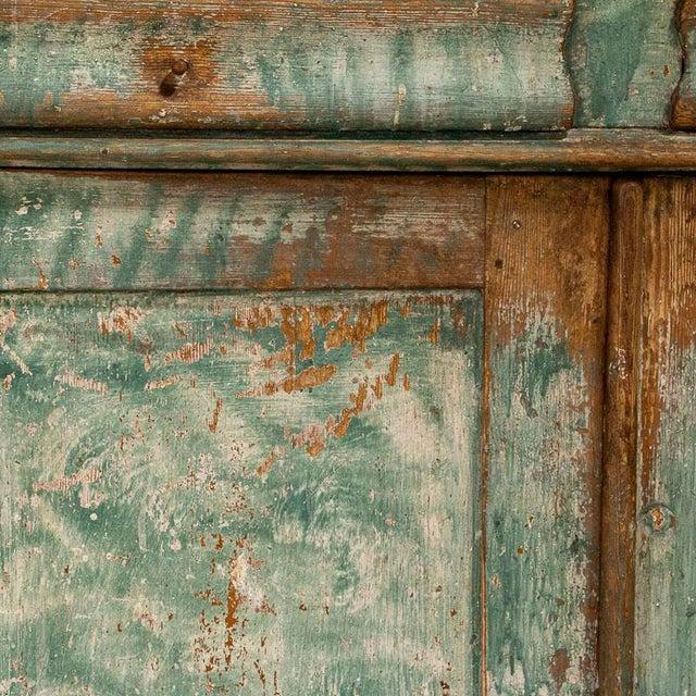 Wood Antique Original Teal Green Folk Art Painted Sideboard For Sale - Image 7 of 11