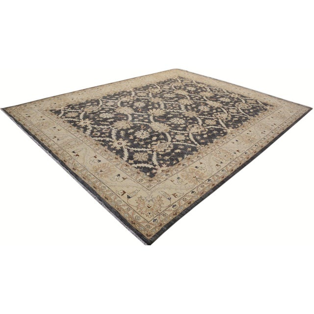 Abstract Kafkaz Peshawar Adena Charcoal/Tan Hand-Knotted Rug - 11'10 X 15'1 For Sale - Image 3 of 8