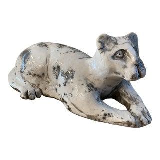 Raku Pottery Cat Sculpture- Signed For Sale