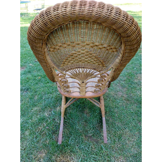 Victorian Wicker Rocking Chair Nursing Rocker in Original Condition Excellent Light Color 1800s Japanese Fanback - Image 7 of 11