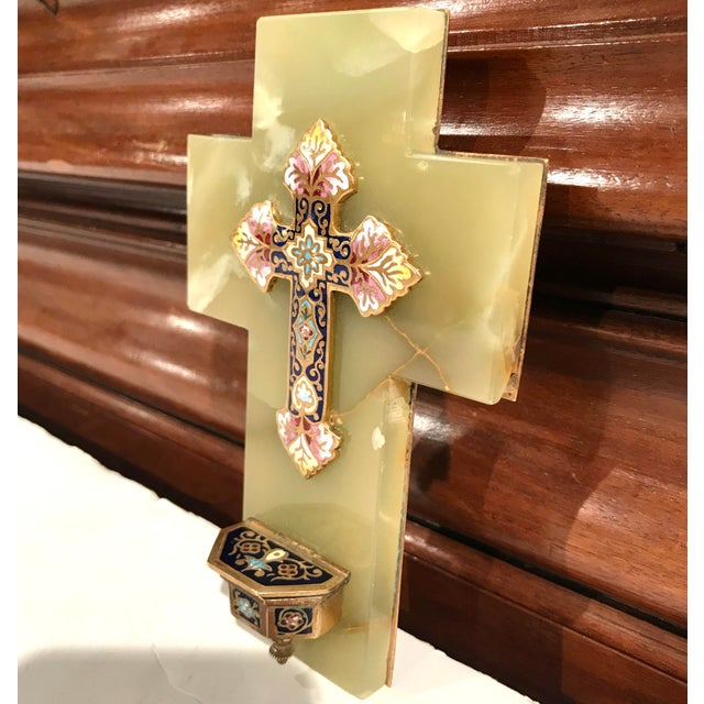 Late 19th Century 19th Century French Green Marble Cross and Holy Water With Cloisonné Technique For Sale - Image 5 of 7