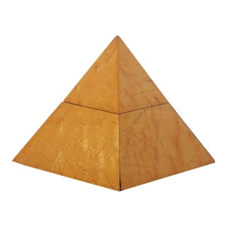 Modern Egyptian Revival Pyramid Form Box in Burlwood For Sale