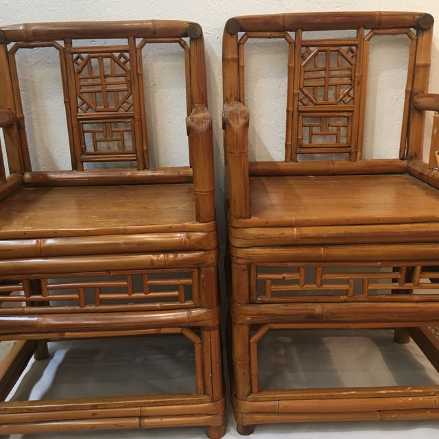 Pair of vintage Bamboo Chinese Chippendale Arm Chairs in Good Condition.