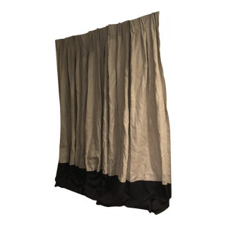 """Custom Made Linen Beige Drapes With 18"""" Black Border - A Pair For Sale"""