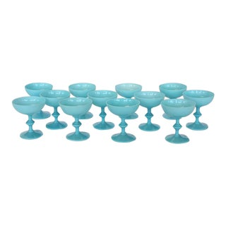 French Blue Opaline Glassware by Portieux Vallerysthal