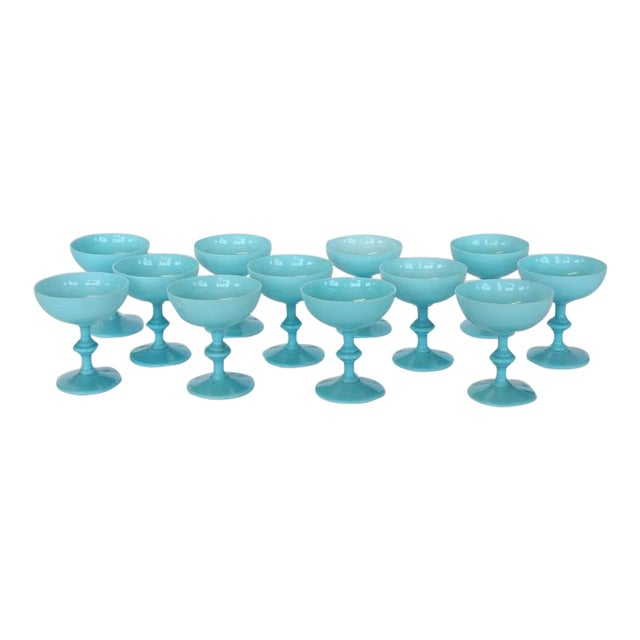 French Blue Opaline Glassware by Portieux Vallerysthal - Image 1 of 3