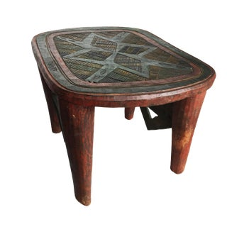 """African Lg Colorful Nupe Stool Nigeria 15.75"""" H by 22.25"""" W For Sale"""