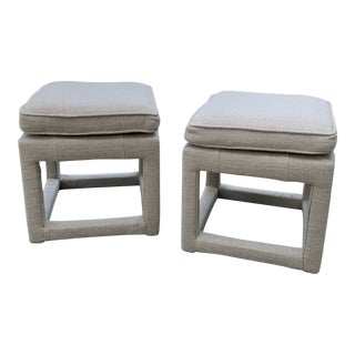 Vintage Upholstered Parsons Stools - a Pair For Sale