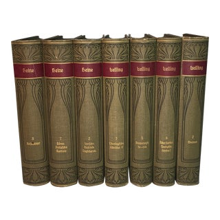 Decorative Antique Books in German - Set of 7
