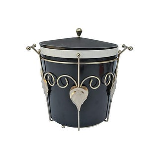 Black and Brass Ice Bucket For Sale