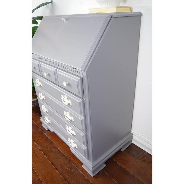 Traditional 19th Century Traditional Gray and Off White Secretary Desk For Sale - Image 3 of 8