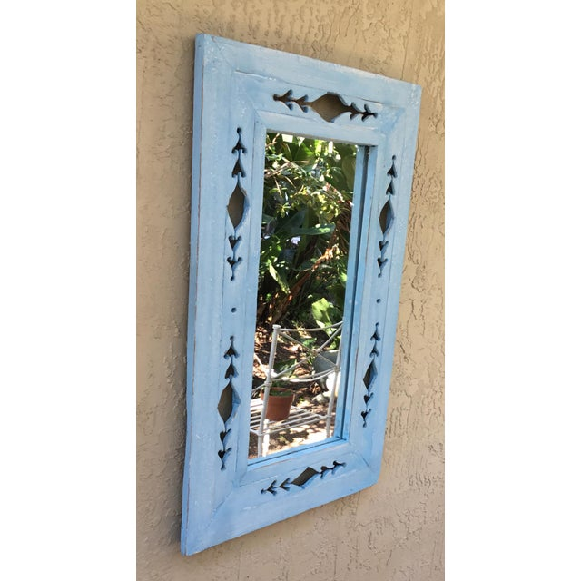 Asian Vintage Hand Carved Wood Mirror For Sale - Image 3 of 11