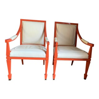 William Switzer Lacquer and Leather Armchairs - A Pair For Sale