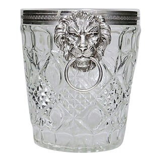 1950s French Glass Champagne Bucket with Lion Knocker Handles