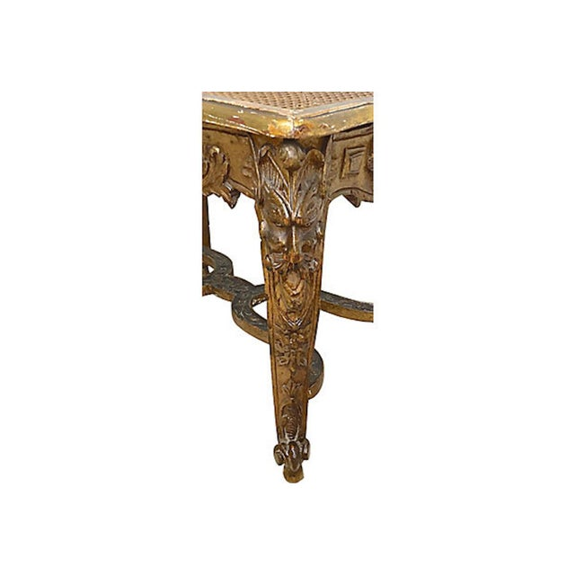 Gold 19th Century Antique French Caned & Carved Gilt Bench For Sale - Image 8 of 9