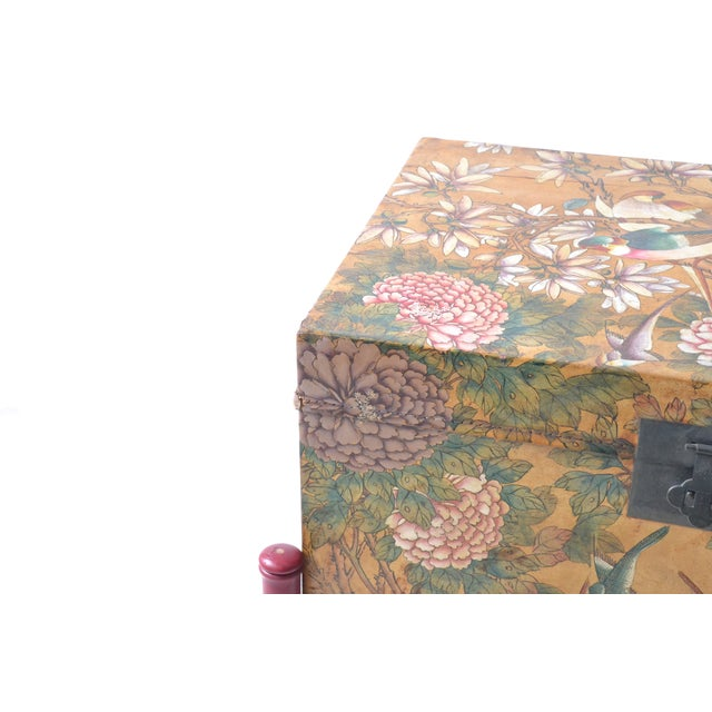 Leather Hand-Painted Chinese Trunk on Stand - Image 5 of 6