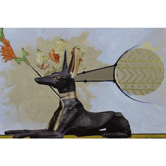 "Original Collage Painting - ""Anubis"" by Carl M. George For Sale - Image 4 of 4"