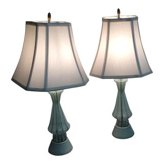 Vintage Murano Art Glass Table Lamps - A Pair For Sale