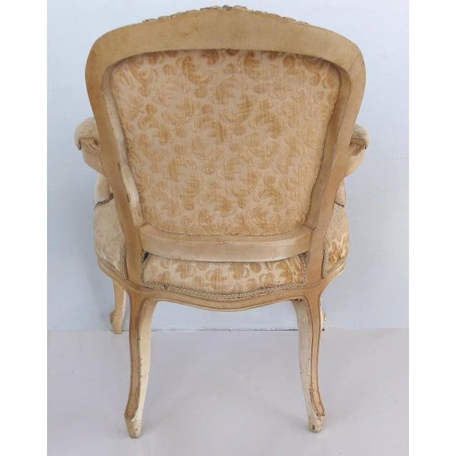 1900 - 1909 Antique Louis XV Style Provincial Velvet Fauteuil Armchairs- a Pair For Sale - Image 5 of 13