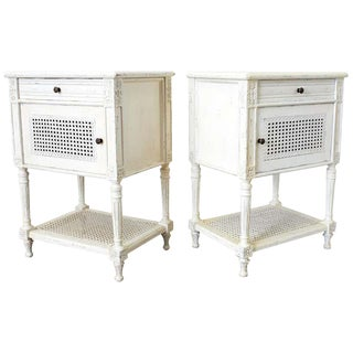 Pair of Painted Louis XVI Style Marble-Top Nightstands For Sale