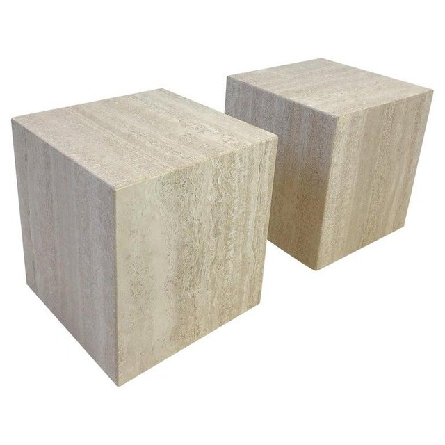 Italian Travertine Side Tables - a Pair For Sale - Image 10 of 10
