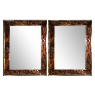 Hollywood Regency Tortoise Shell Wall, Console Over the Mantle Mirrors, a Pair For Sale