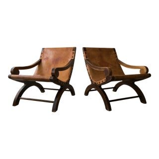 Pair of Vintage Butaque Leather Sling Lounge Chair For Sale