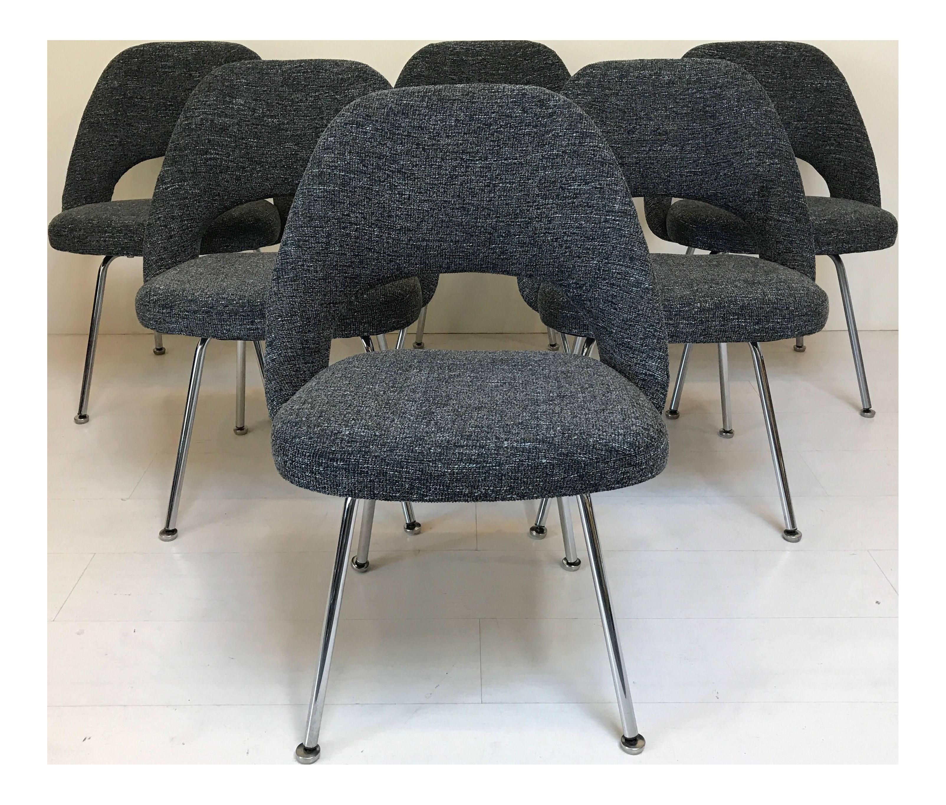 Vintage Saarinen Knoll Executive Armless Dining Chairs   Set Of 6