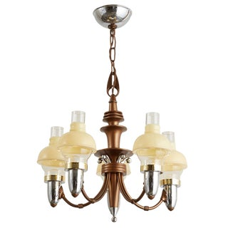 Five-Light Transitional Chandelier W/ Tri-Toned Finish Circa 1930s